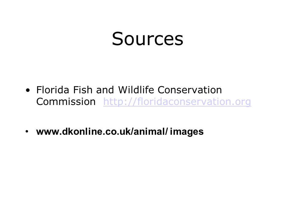 Sources Florida Fish and Wildlife Conservation Commission http://floridaconservation.org.