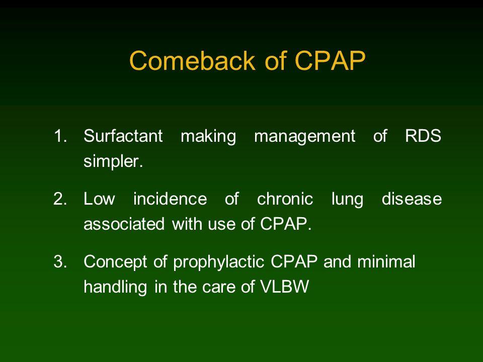 Comeback of CPAP Surfactant making management of RDS simpler.