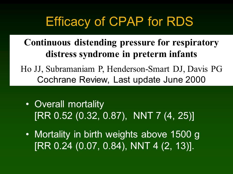 Efficacy of CPAP for RDS