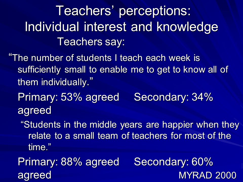 Teachers' perceptions: Individual interest and knowledge