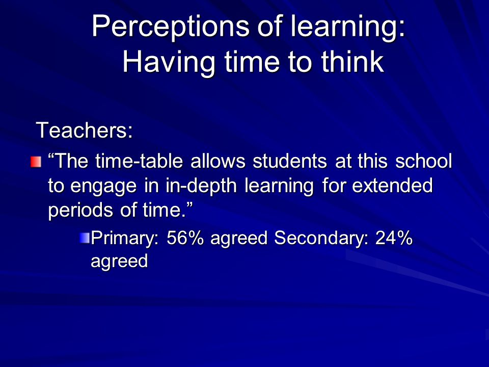 Perceptions of learning: Having time to think
