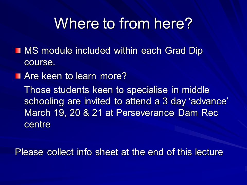 Where to from here MS module included within each Grad Dip course.
