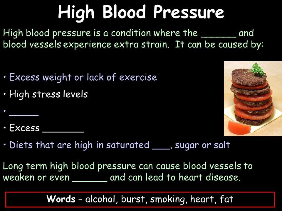 Words – alcohol, burst, smoking, heart, fat
