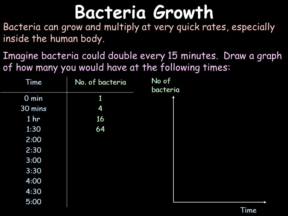 Bacteria Growth Bacteria can grow and multiply at very quick rates, especially inside the human body.