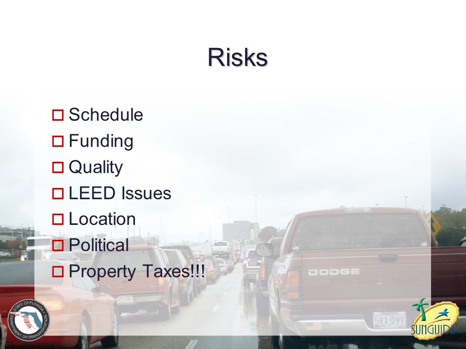 Risks Schedule Funding Quality LEED Issues Location Political