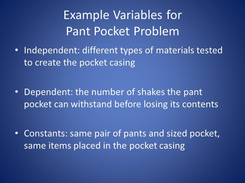 Example Variables for Pant Pocket Problem
