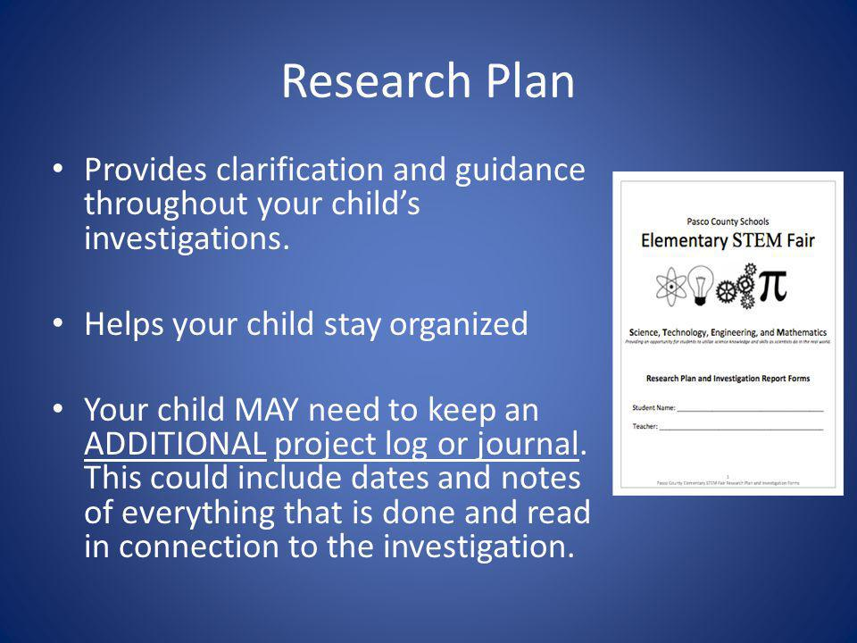 Research Plan Provides clarification and guidance throughout your child's investigations. Helps your child stay organized.