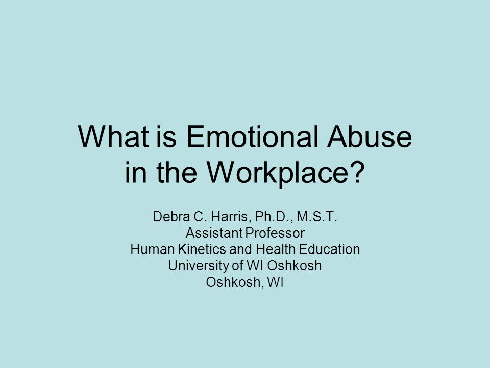 What is Emotional Abuse in the Workplace