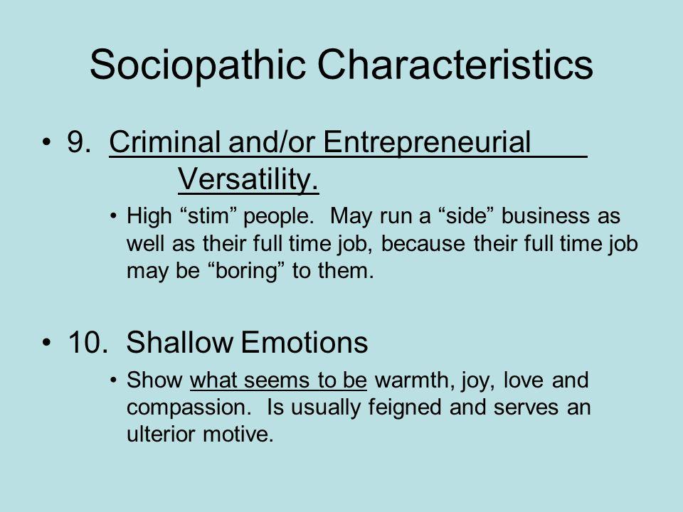 Sociopathic Characteristics