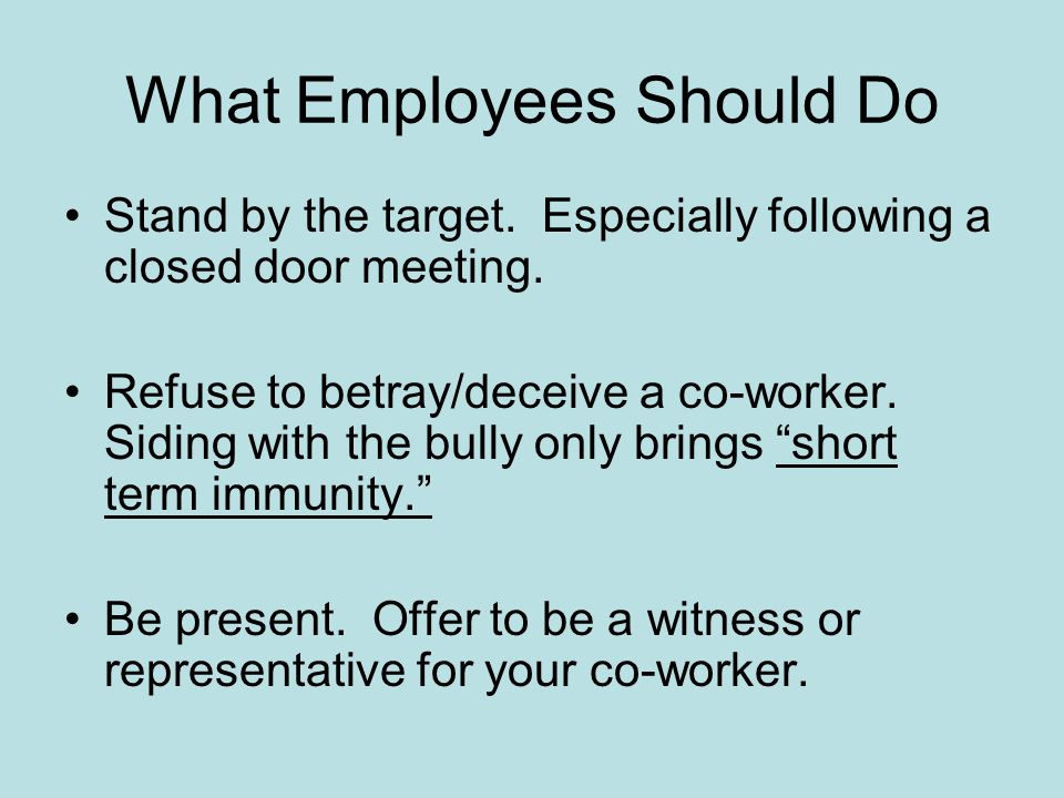 What Employees Should Do