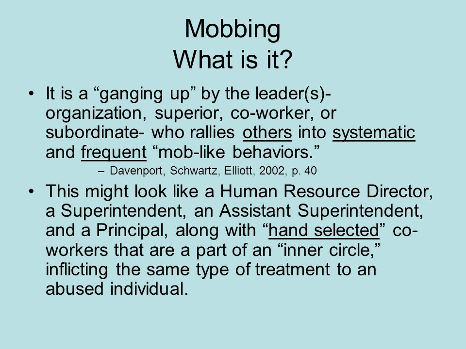 Mobbing What is it