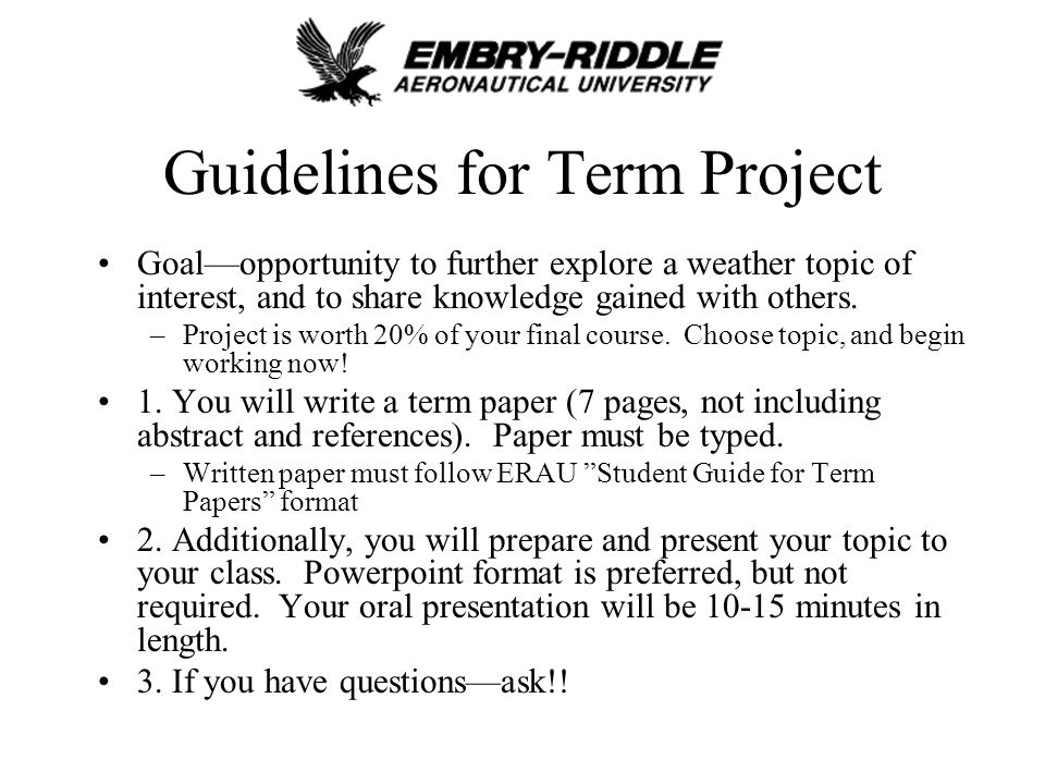 project guideline essay