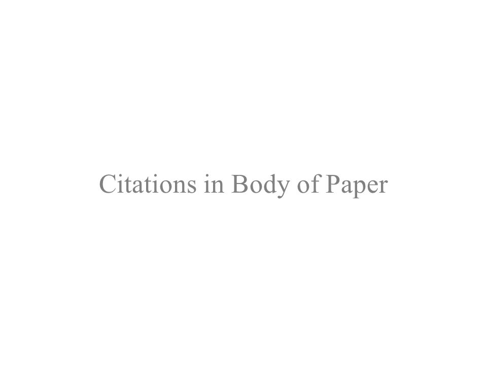 Citations in Body of Paper