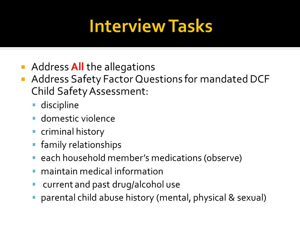Interview Tasks Address All the allegations