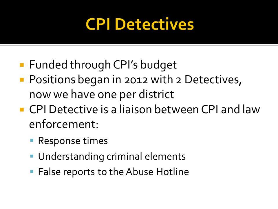 CPI Detectives Funded through CPI's budget