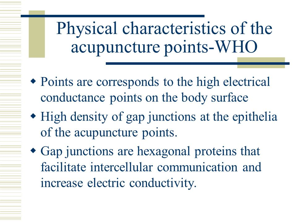 Physical characteristics of the acupuncture points-WHO