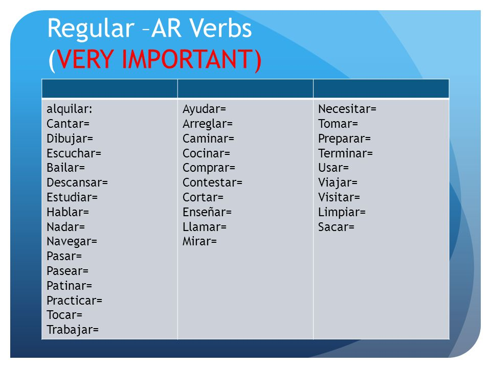 Regular –AR Verbs (VERY IMPORTANT)