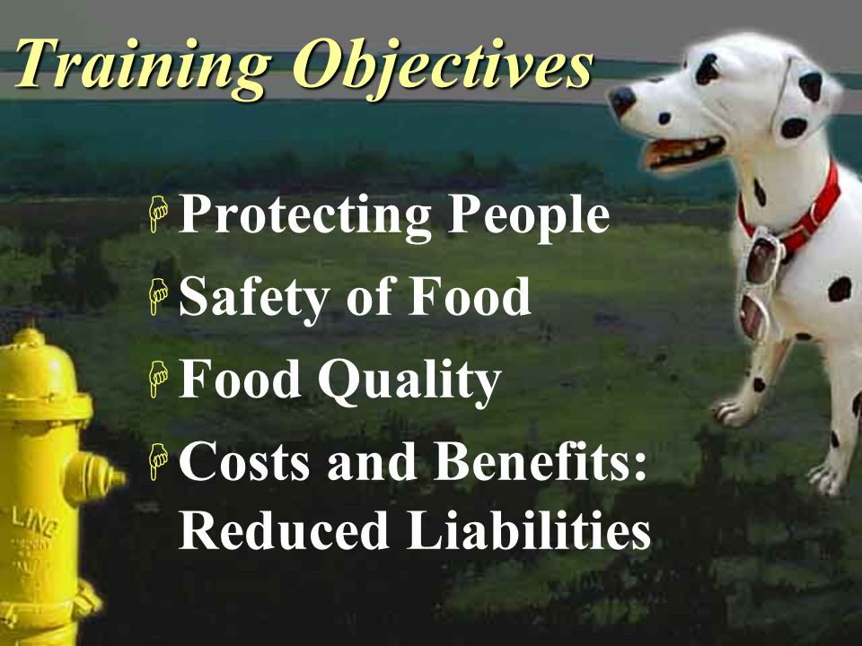 Training Objectives Protecting People Safety of Food Food Quality