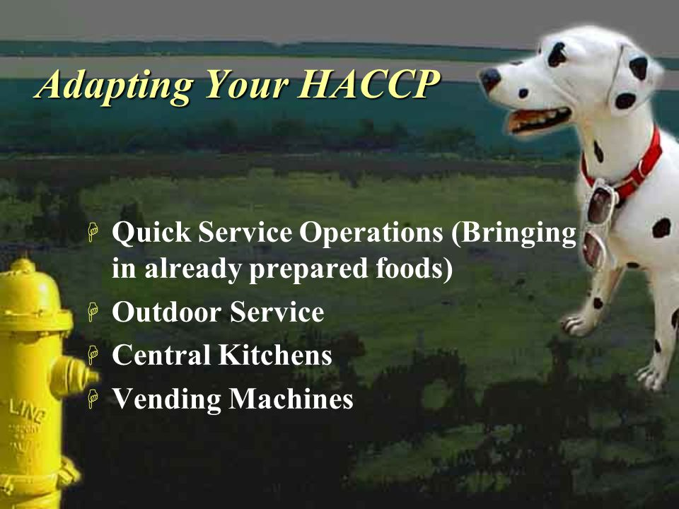 Adapting Your HACCP Quick Service Operations (Bringing in already prepared foods) Outdoor Service.