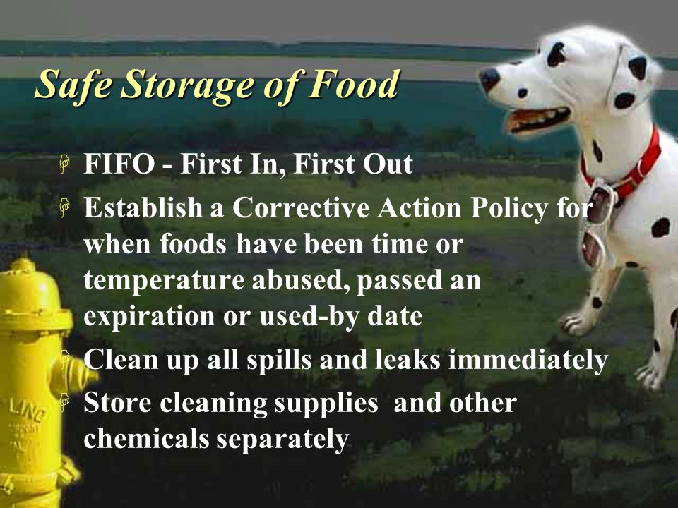 Safe Storage of Food FIFO - First In, First Out