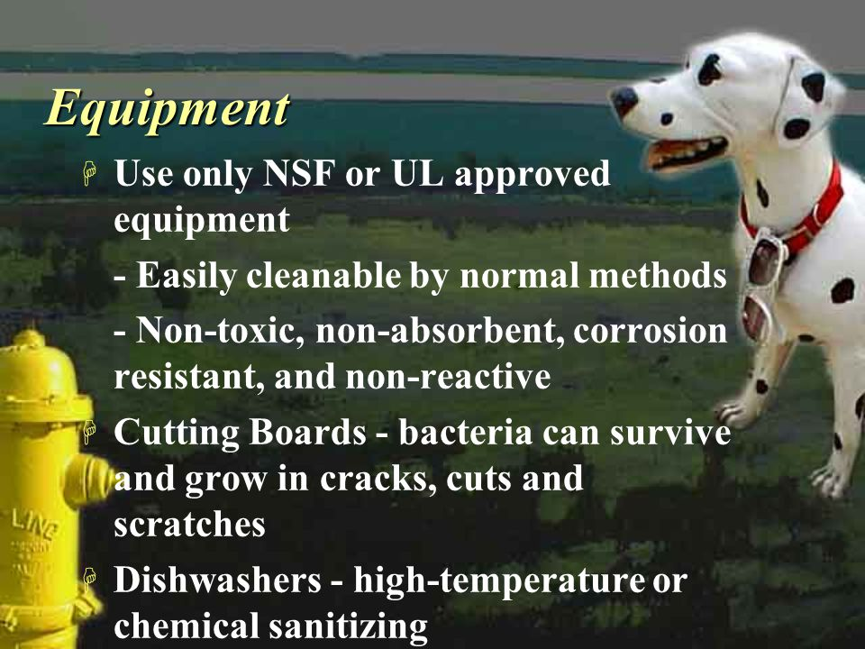 Equipment Use only NSF or UL approved equipment