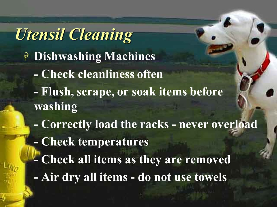 Utensil Cleaning Dishwashing Machines - Check cleanliness often