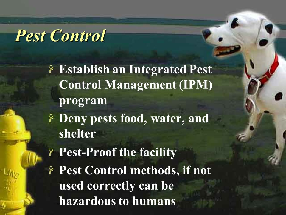 Pest Control Establish an Integrated Pest Control Management (IPM) program. Deny pests food, water, and shelter.