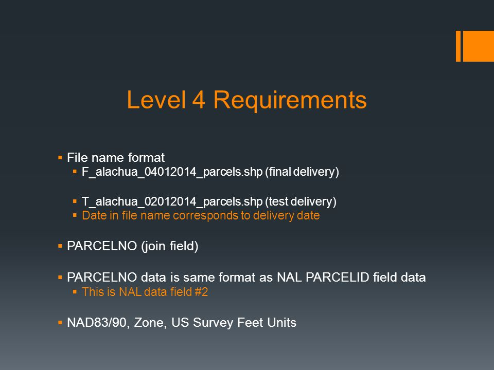 Level 4 Requirements File name format PARCELNO (join field)