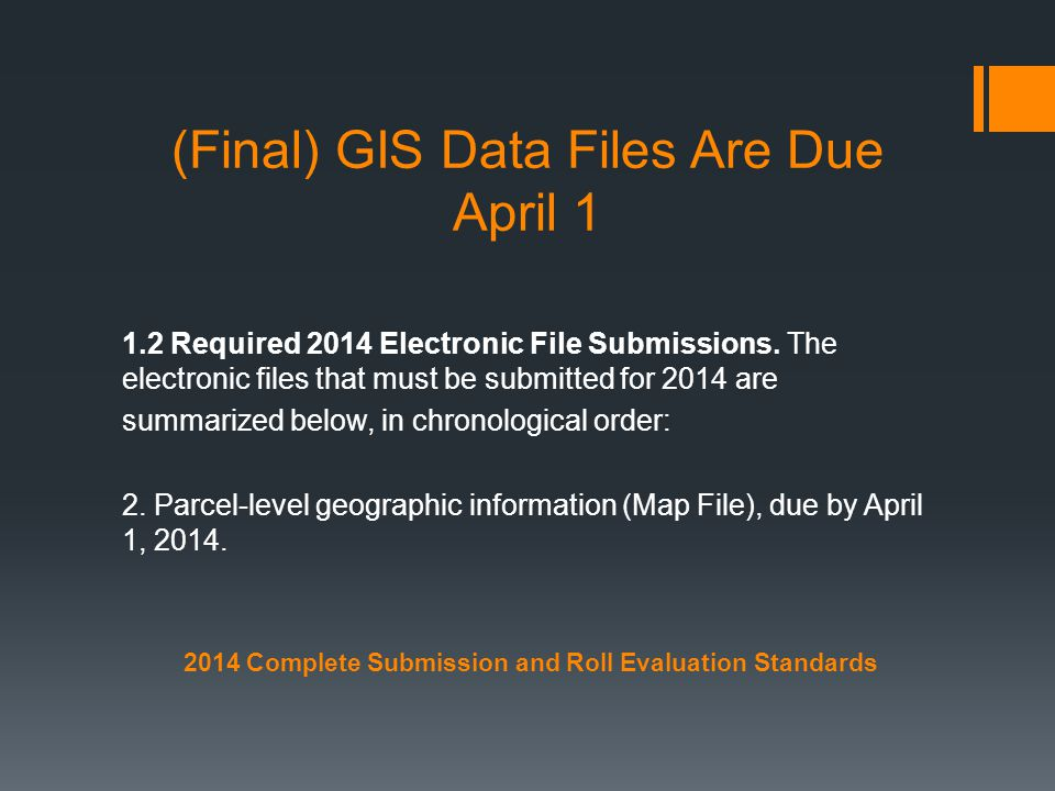 (Final) GIS Data Files Are Due April 1