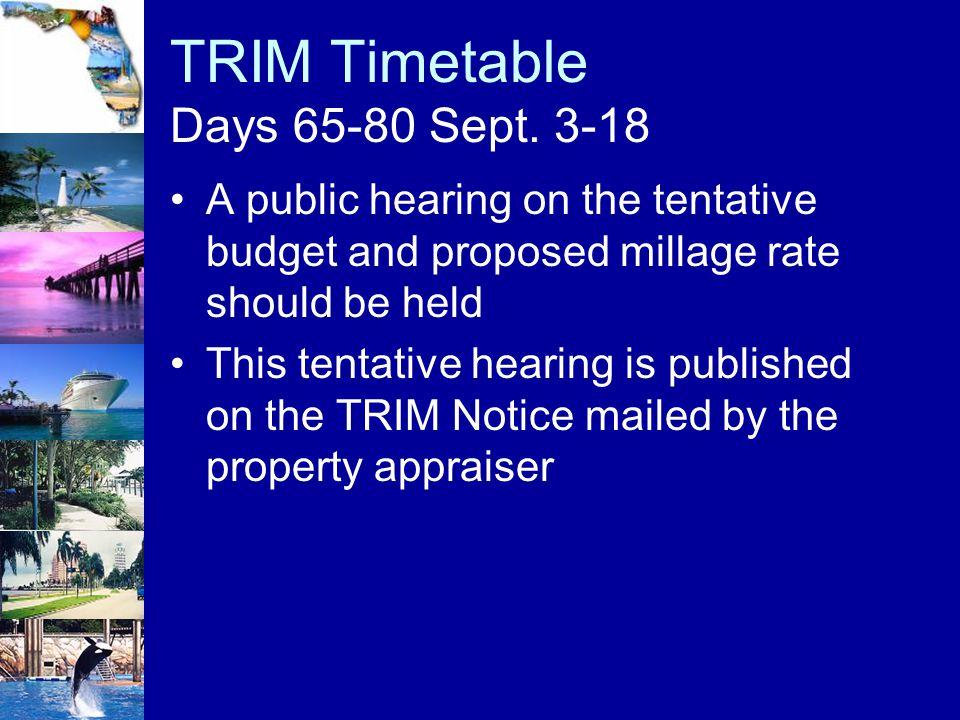 TRIM Timetable Days 65-80 Sept. 3-18