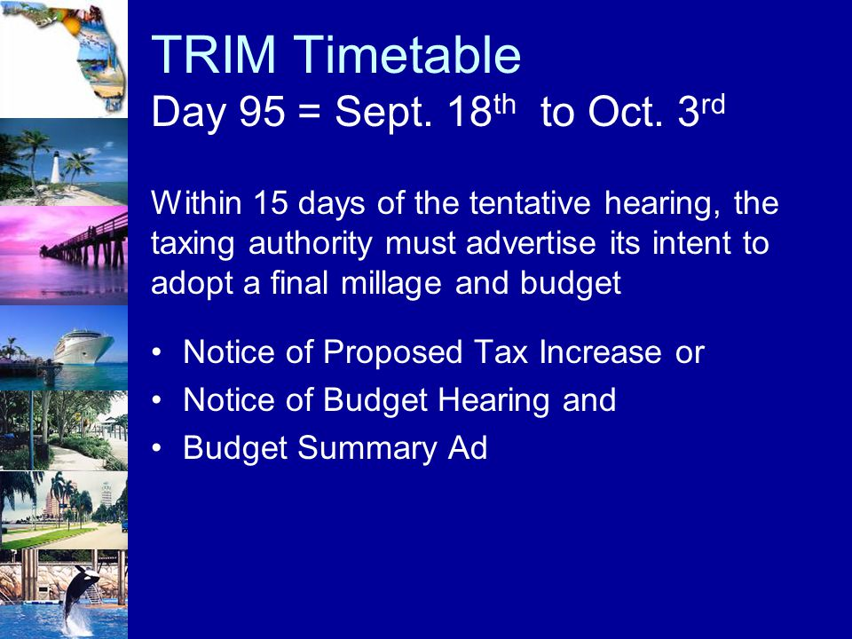 TRIM Timetable Day 95 = Sept. 18th to Oct. 3rd