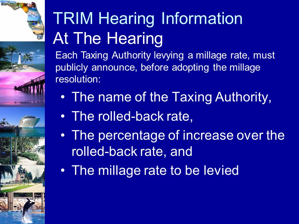 TRIM Hearing Information At The Hearing