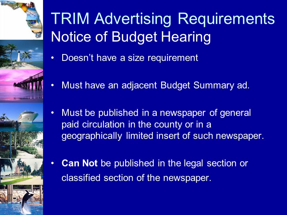 TRIM Advertising Requirements Notice of Budget Hearing