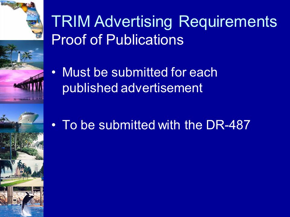 TRIM Advertising Requirements Proof of Publications