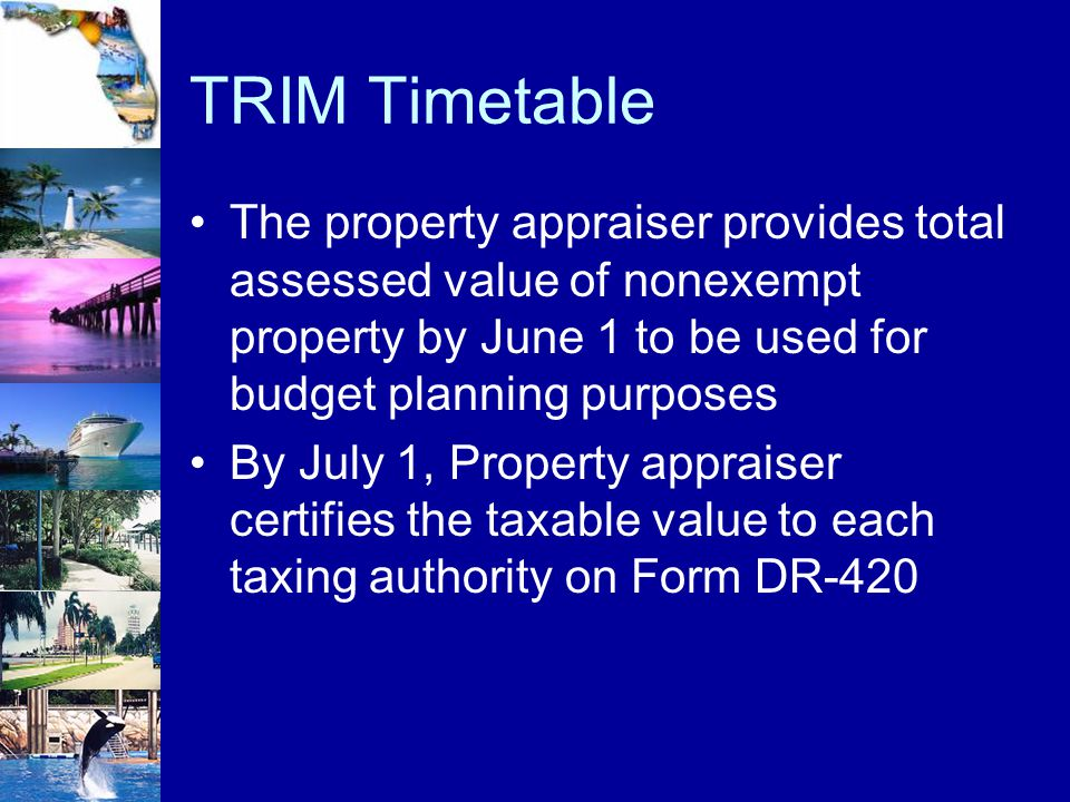 TRIM Timetable The property appraiser provides total assessed value of nonexempt property by June 1 to be used for budget planning purposes.
