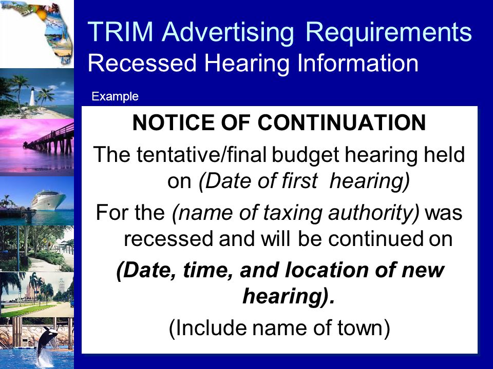 TRIM Advertising Requirements Recessed Hearing Information