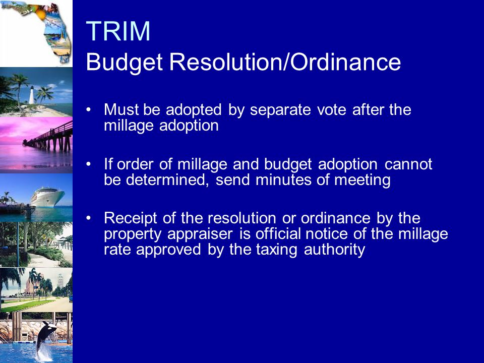 TRIM Budget Resolution/Ordinance
