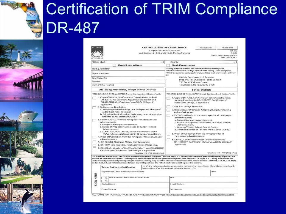 Certification of TRIM Compliance DR-487
