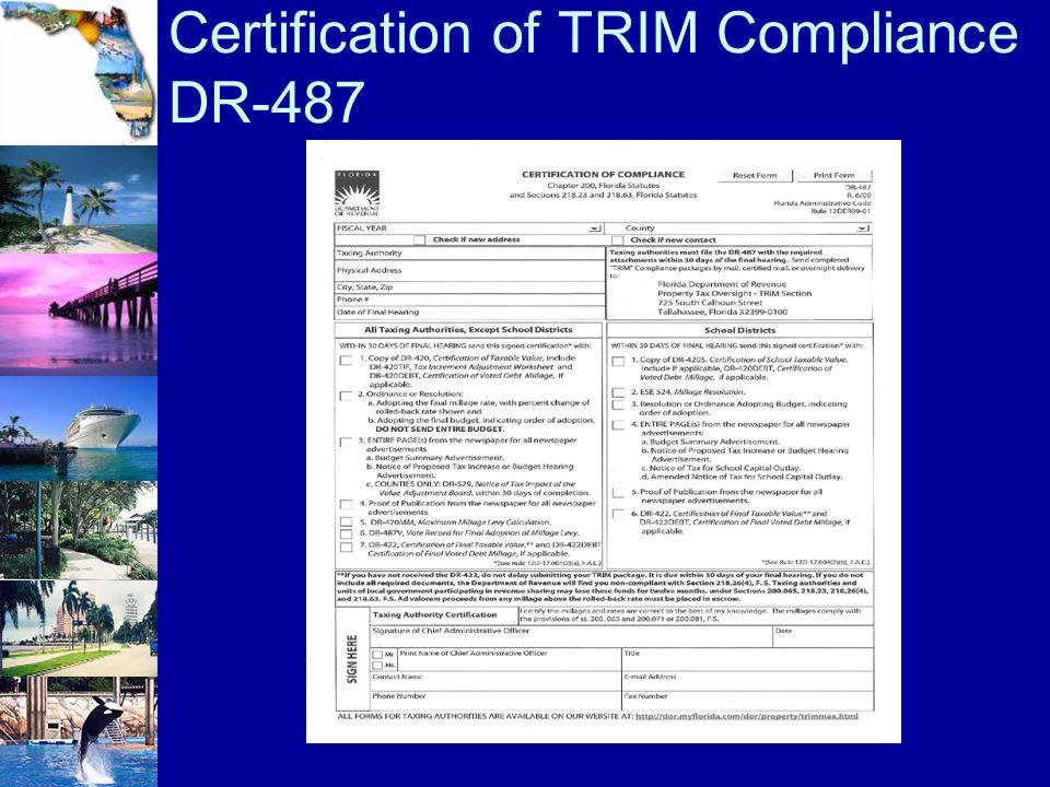 Certification of TRIM Compliance DR-487