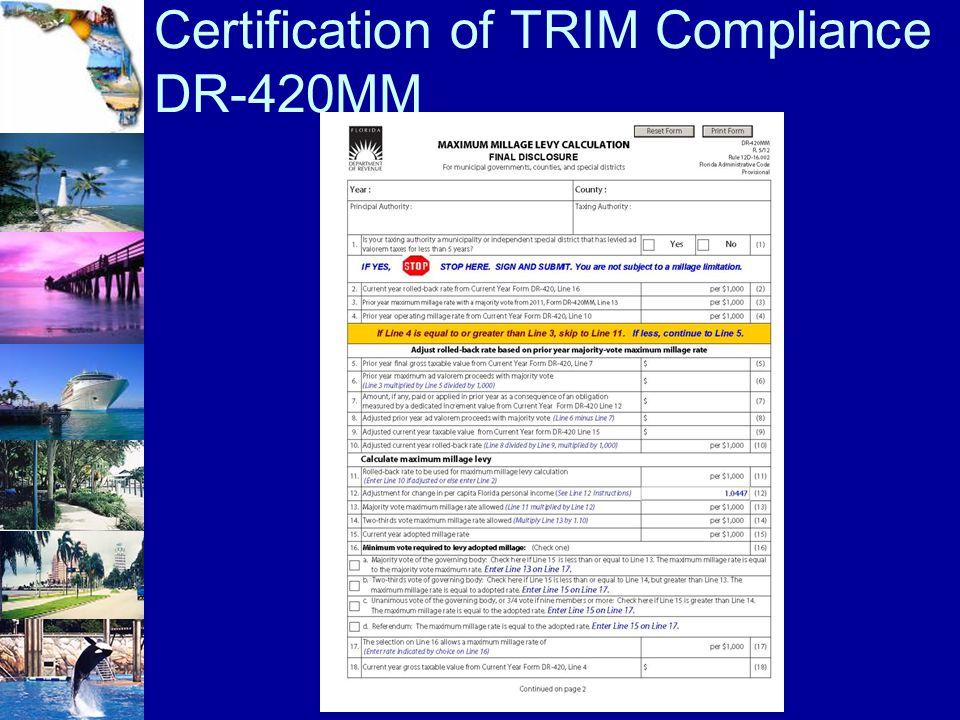 Certification of TRIM Compliance DR-420MM