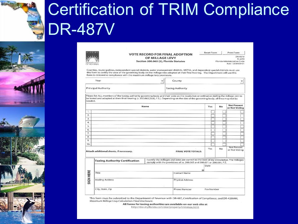 Certification of TRIM Compliance DR-487V