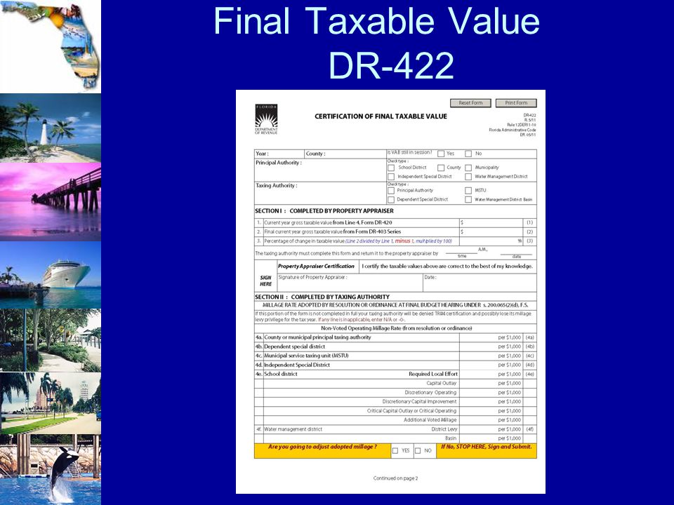 Final Taxable Value DR-422