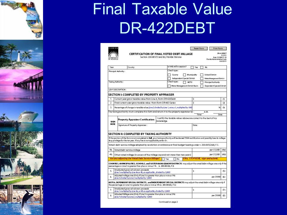Final Taxable Value DR-422DEBT