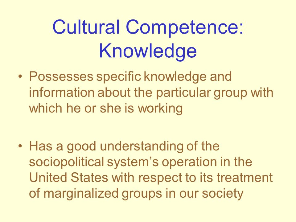 Cultural Competence: Knowledge