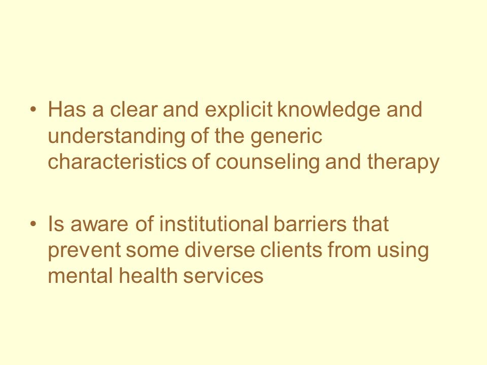 Has a clear and explicit knowledge and understanding of the generic characteristics of counseling and therapy