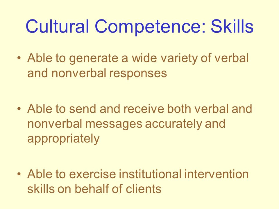 Cultural Competence: Skills