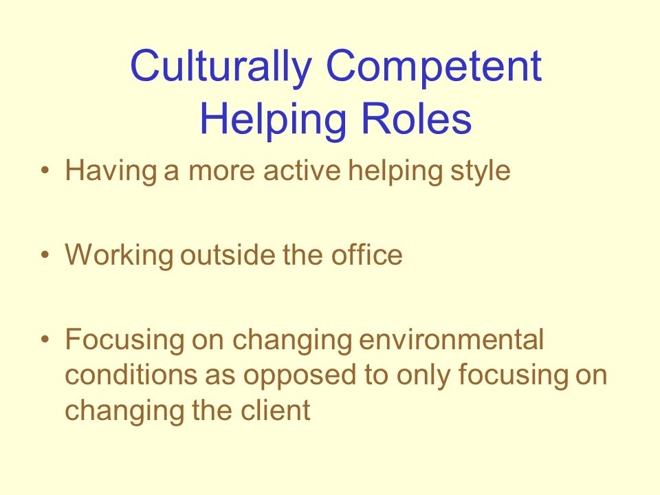 Culturally Competent Helping Roles