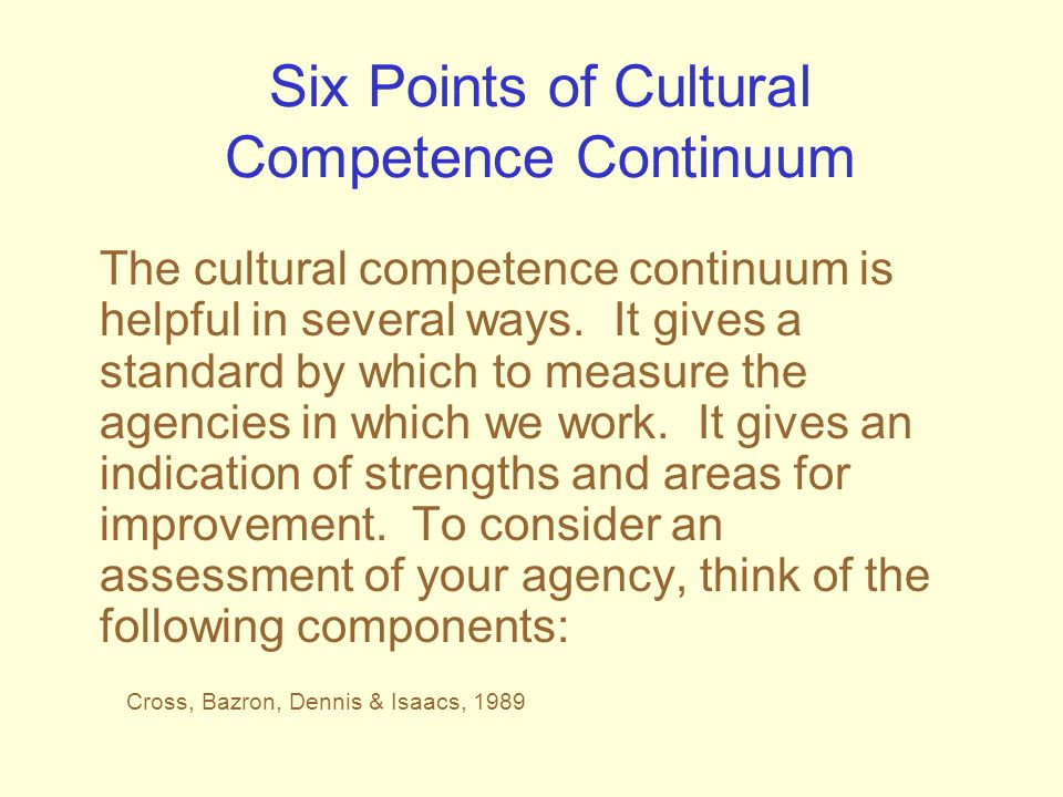 Six Points of Cultural Competence Continuum