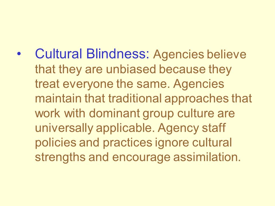Cultural Blindness: Agencies believe that they are unbiased because they treat everyone the same.