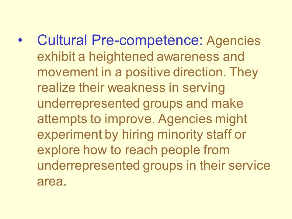 Cultural Pre-competence: Agencies exhibit a heightened awareness and movement in a positive direction.